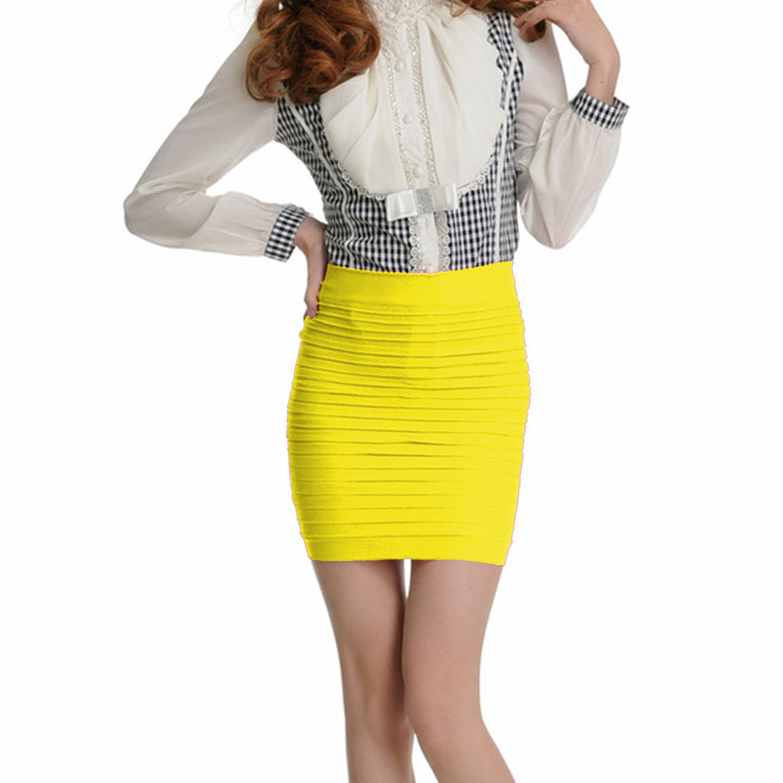 Ladies Pure Yellow Elastic Waist Hip Tight Mini Skirt XS