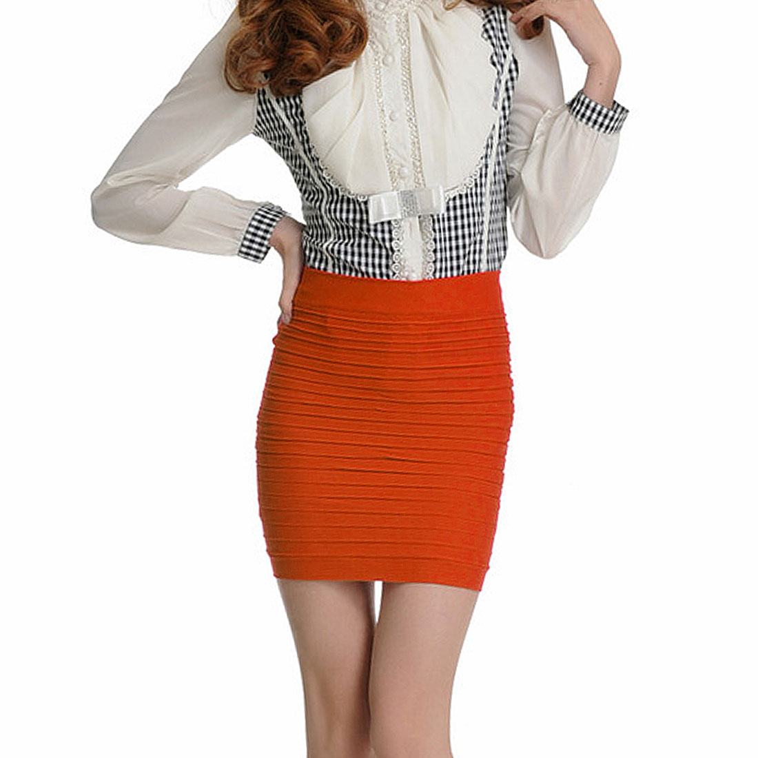 Hip Hugging Layered Stretch Mini Skirt Orange XS for Woman