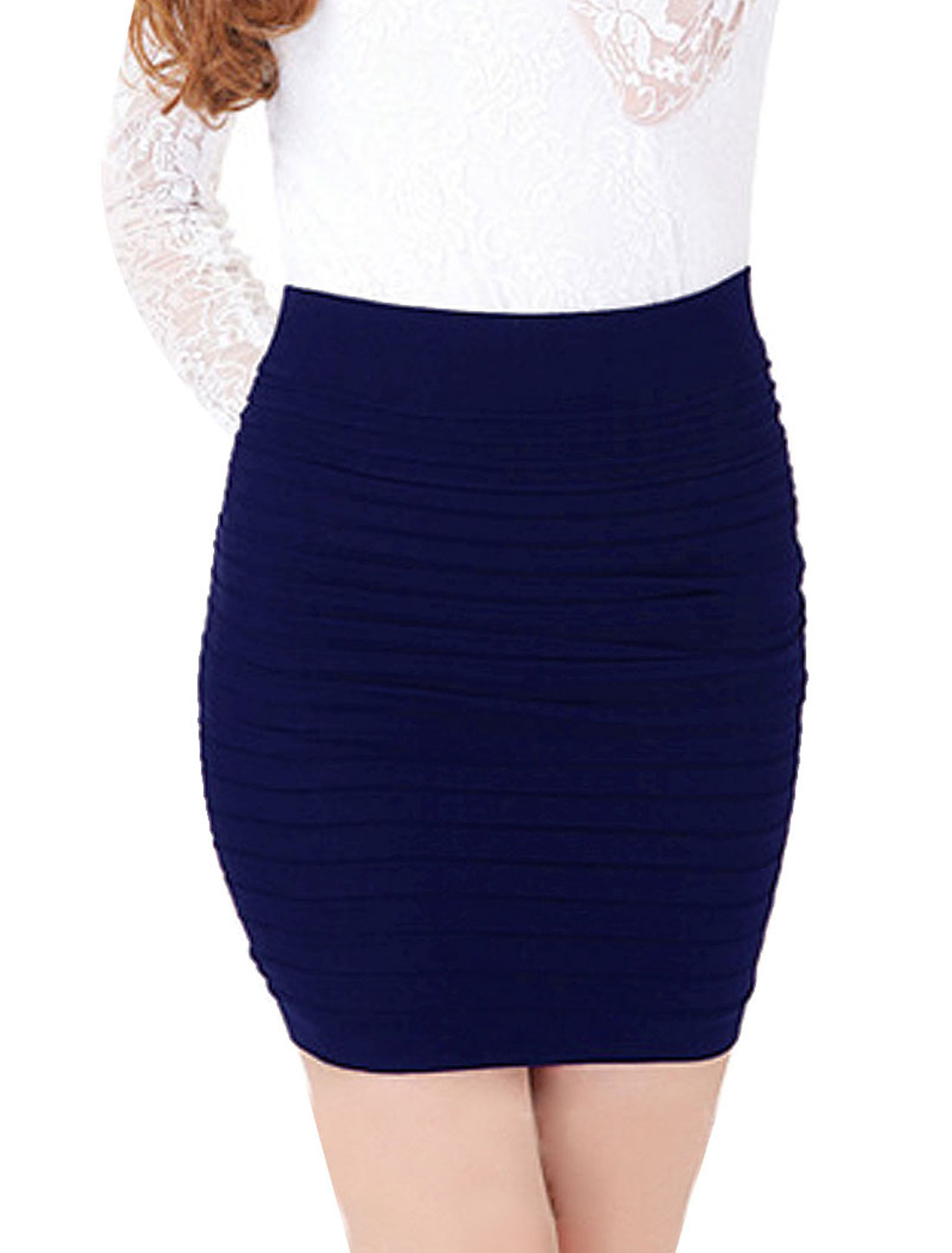 Ladies Pure Dark Blue Elastic Waist Hip Tight Mini Skirt XS