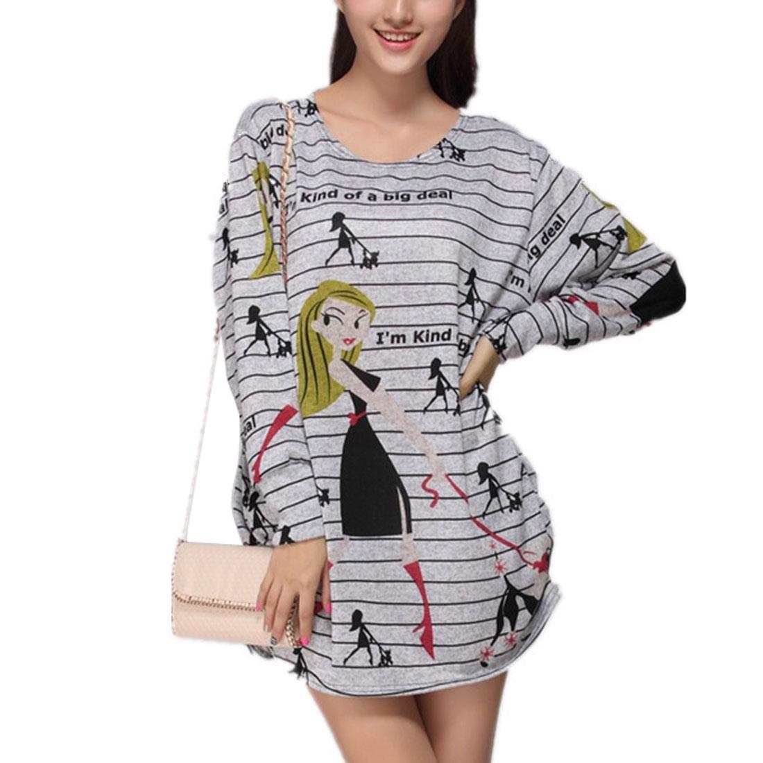Woman Autumn Round Neck Side Gather Design Loose Mini Dress Gray M
