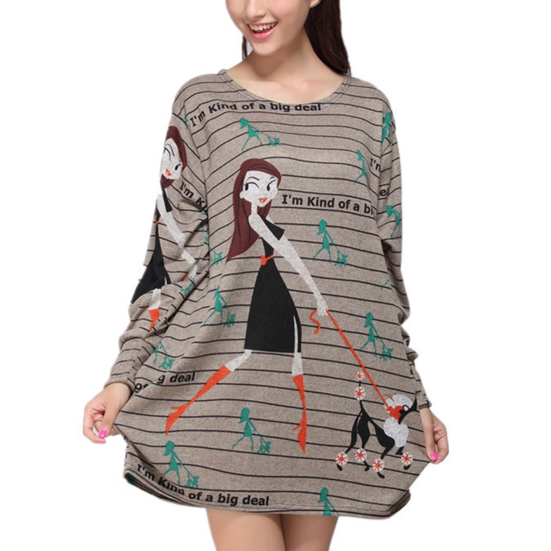 Woman Round Neck Long Sleeve Side Gather Design Loose Mini Dress Dark Gray M