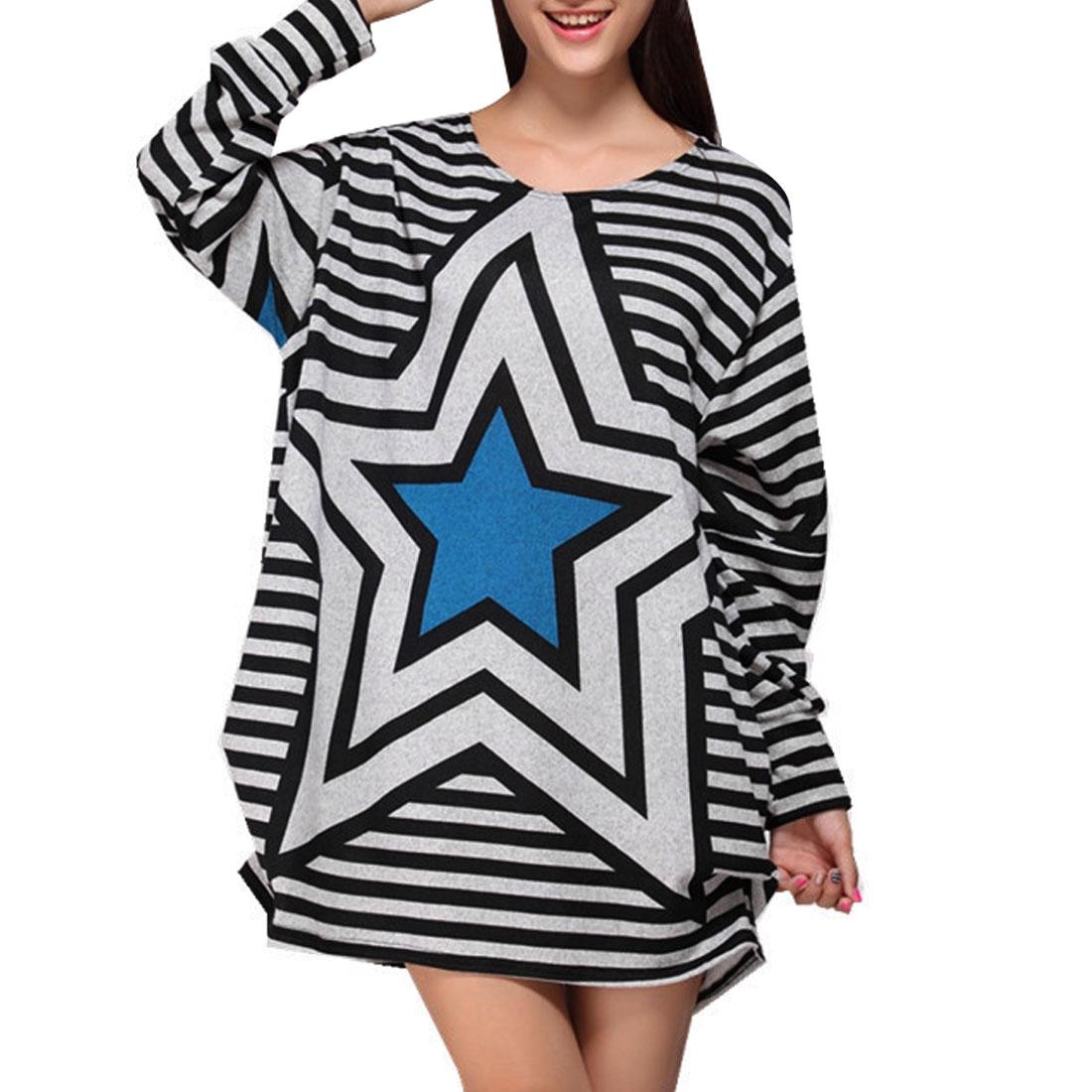 Long Sleeve Black Gray Stripes Print Autumn Mini Dress Blue L for Women