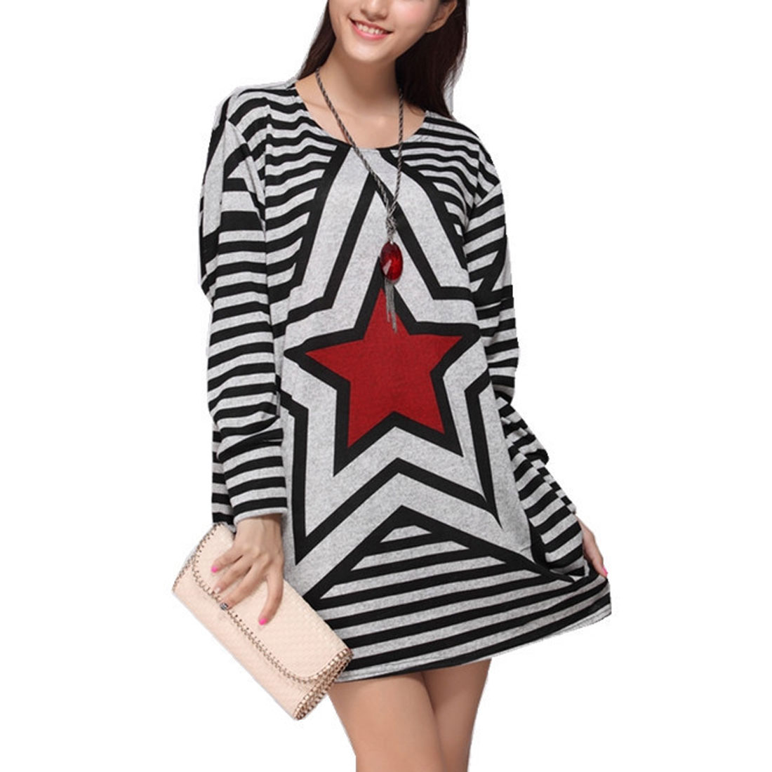 Woman Side Gather Design Long Sleeve Leisure Loose Mini Dress Black Gray Red L