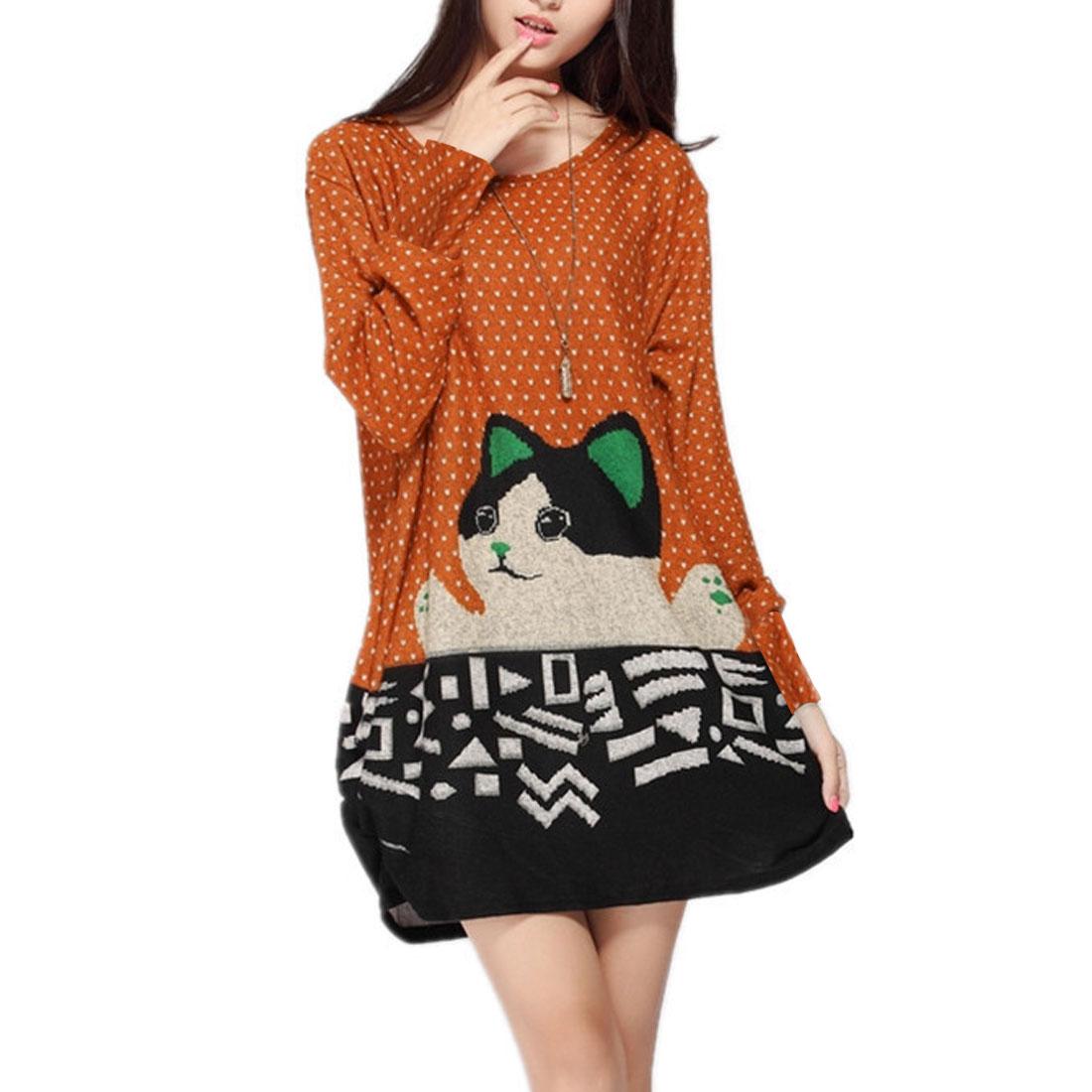 Round Neck Cat Pattern Autumn Casual Loose Mini Dress Black Orange M for Ladies