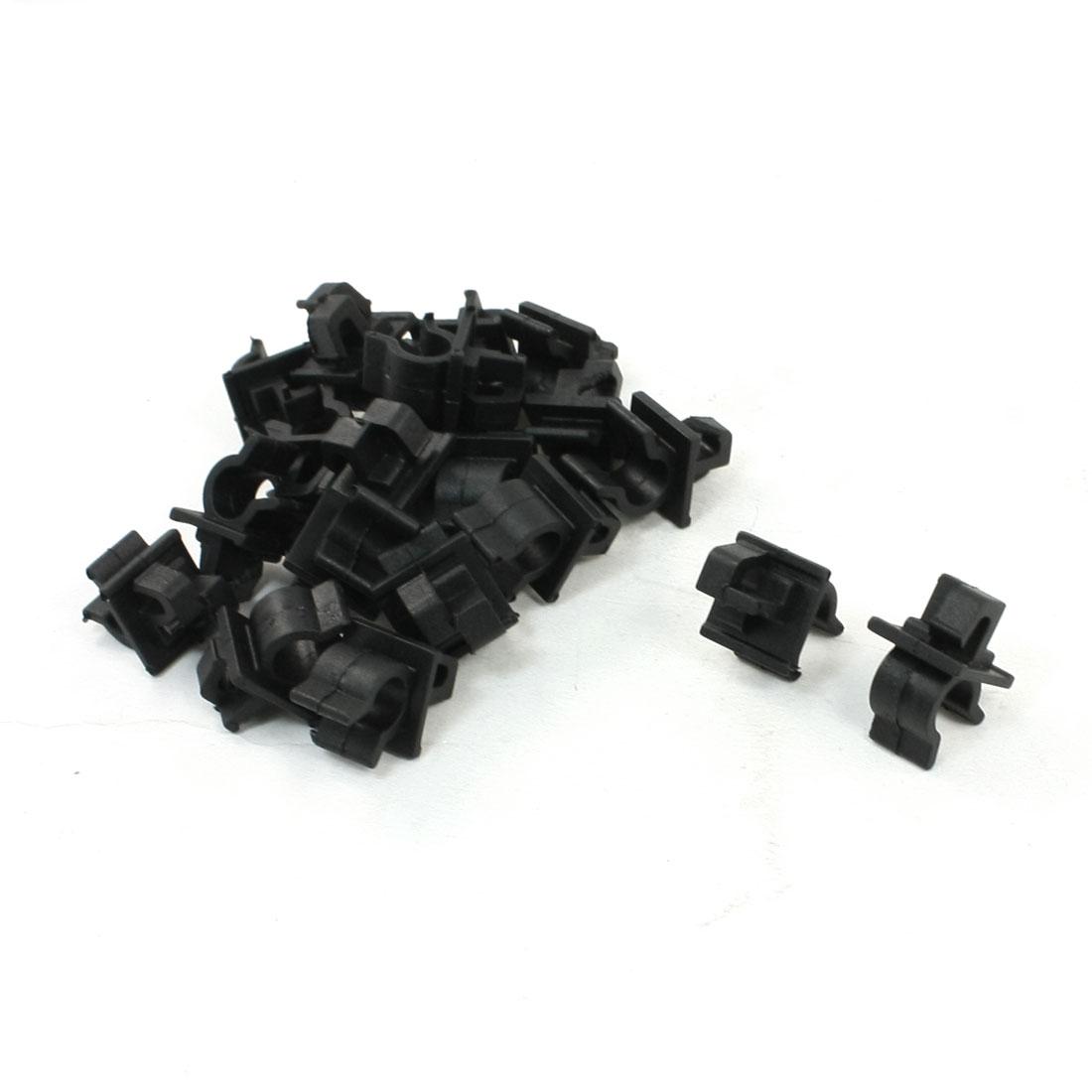 Vehicle Car 10mm Hole Black Plastic Hood Prop Rod Clips Rivet 20 Pcs