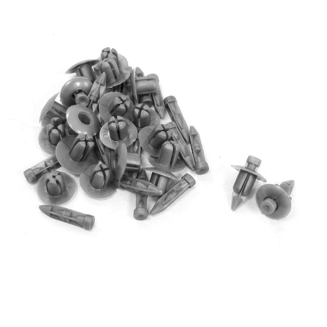 100 Pairs 7mm Hole Plastic Push in Type Fastener Rivets Fender Clips