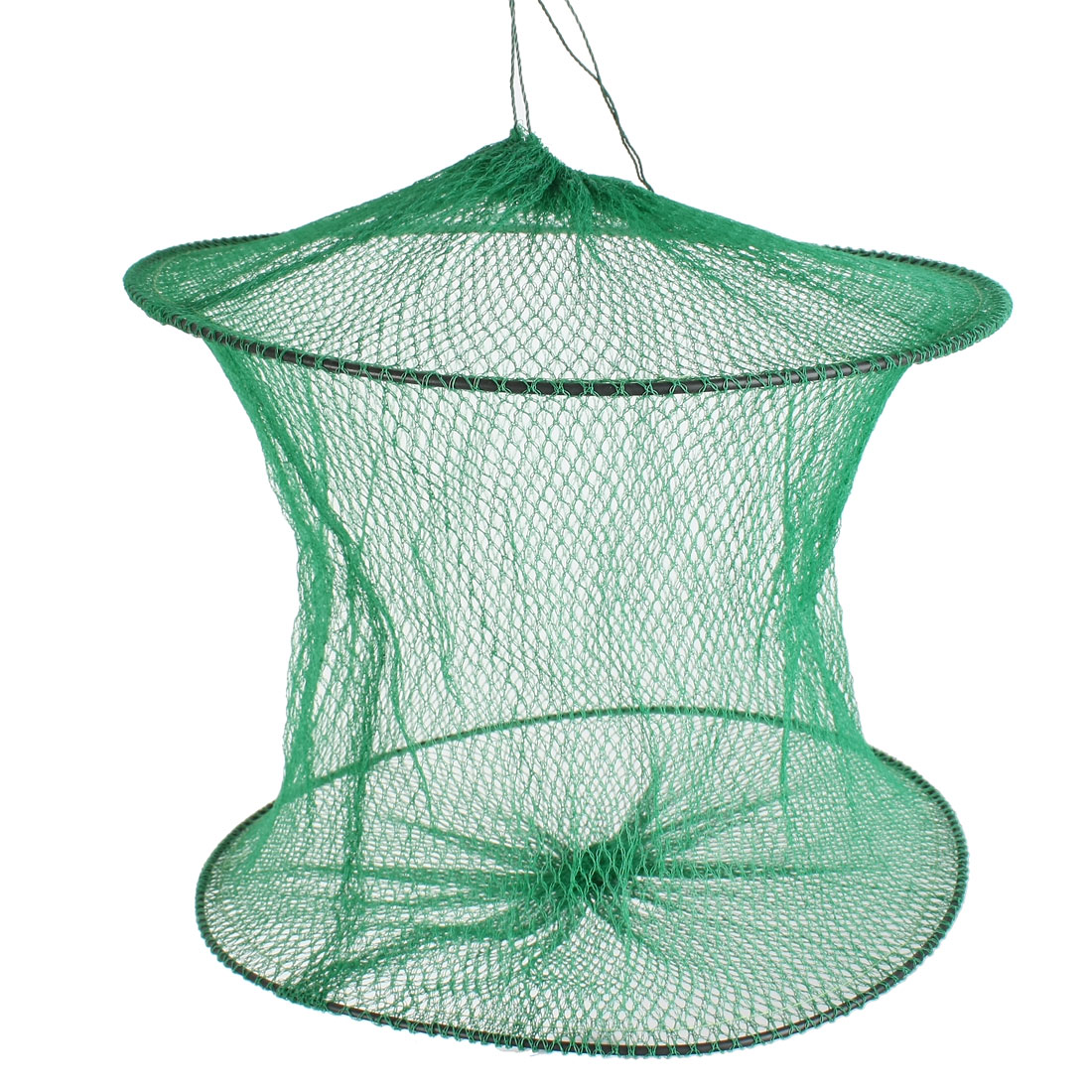 Plastic Ring Green Foldable Mesh Nylon Angling Fishing Cage