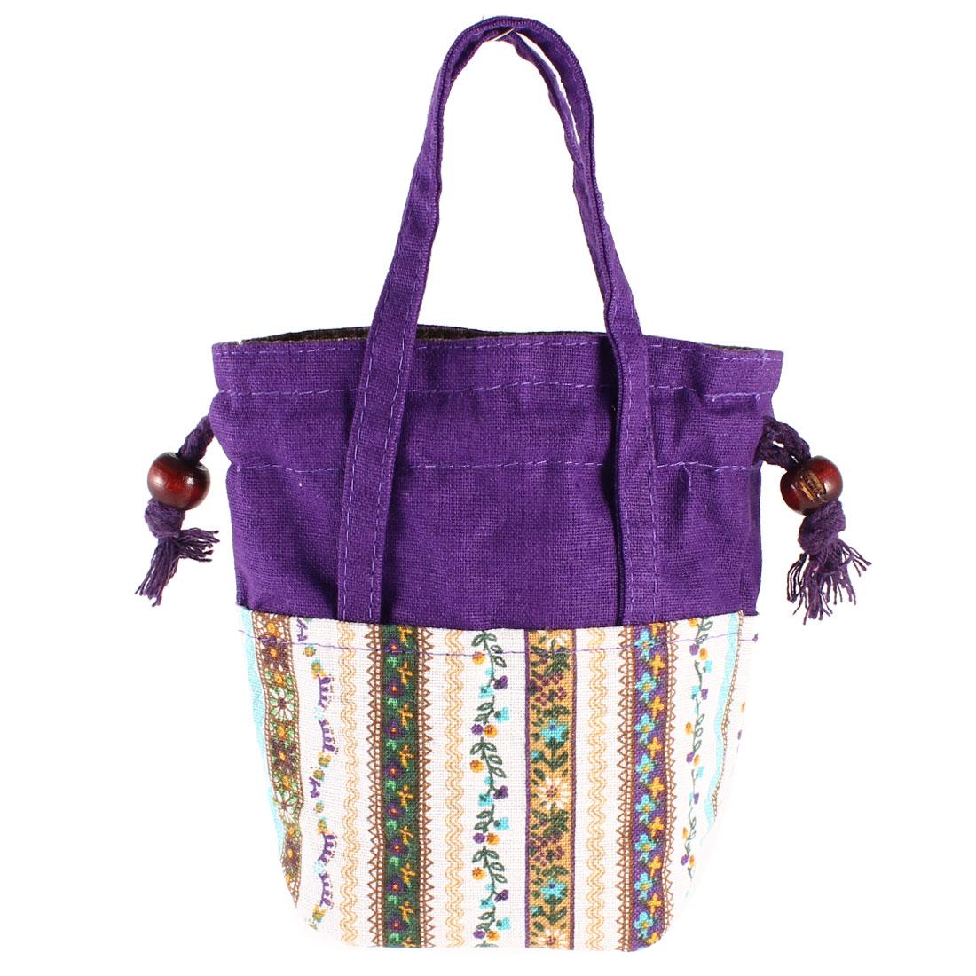 Women Drawstring Closure Money Holder Handbag Shopping Tote Bag Purple
