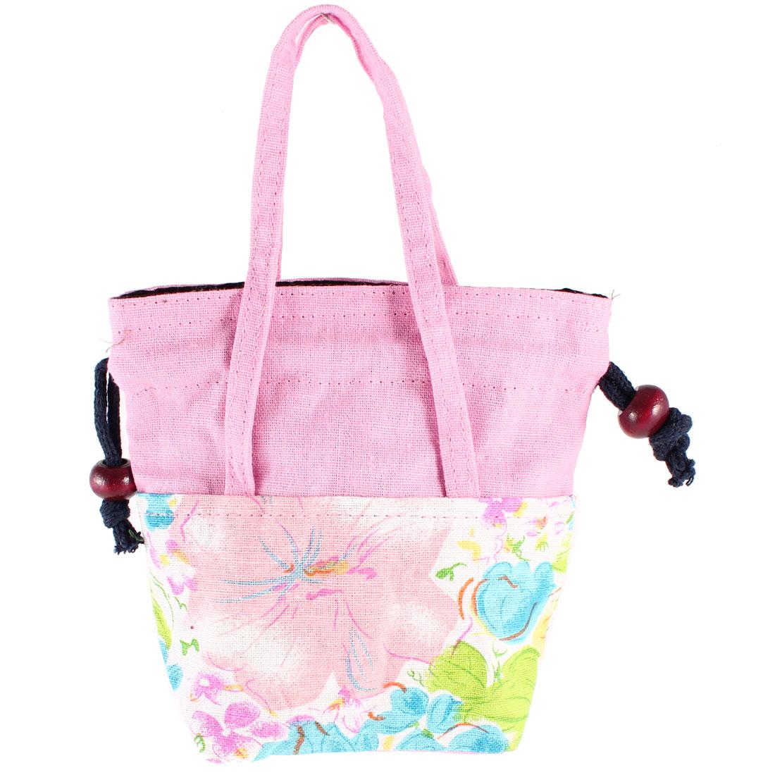 Ladies Floral Pattern Handbag Mobile Phone Holder Purse Pink