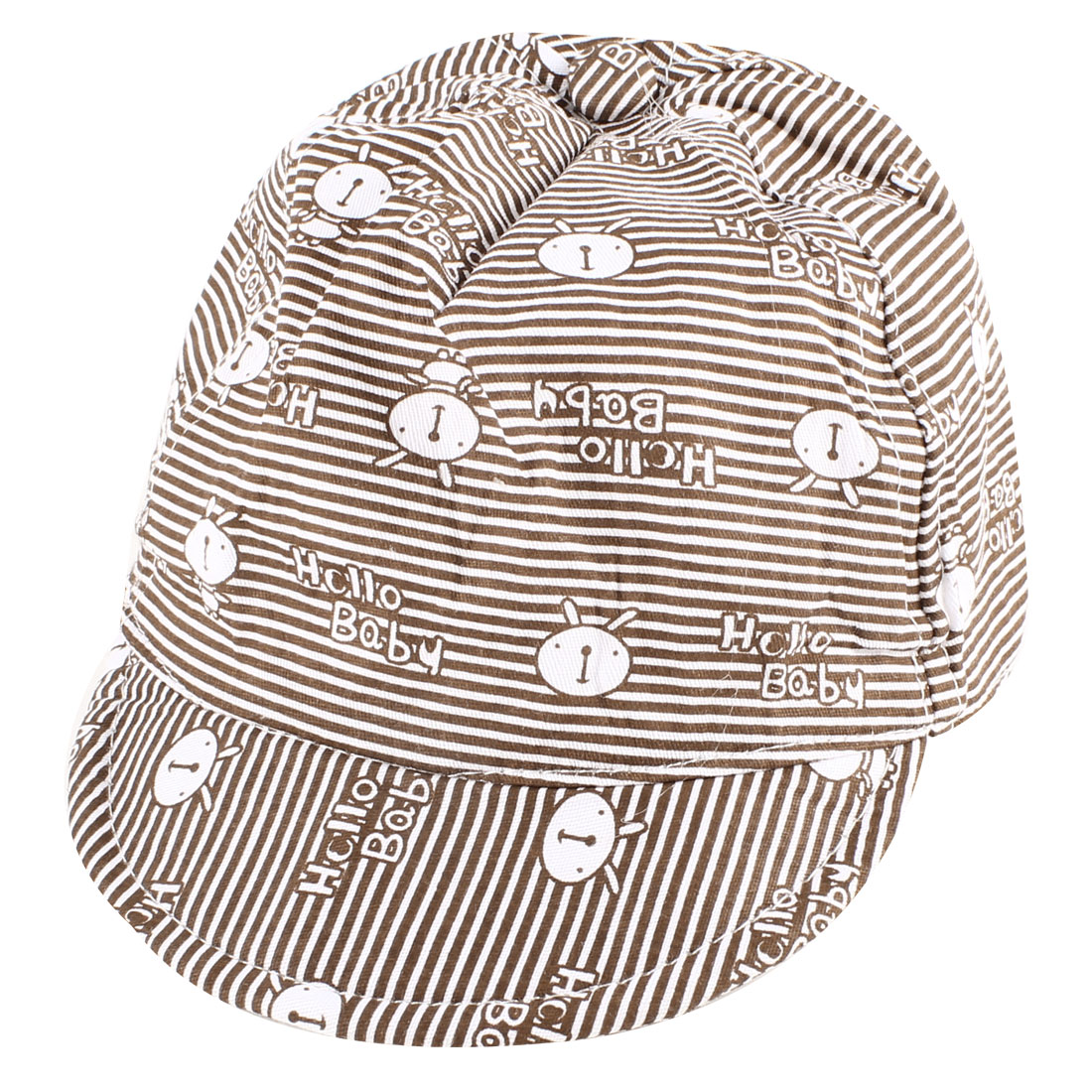 Stripes Prints Elastic Band Ball Cap Gift Brown White for Baby Girl Boy