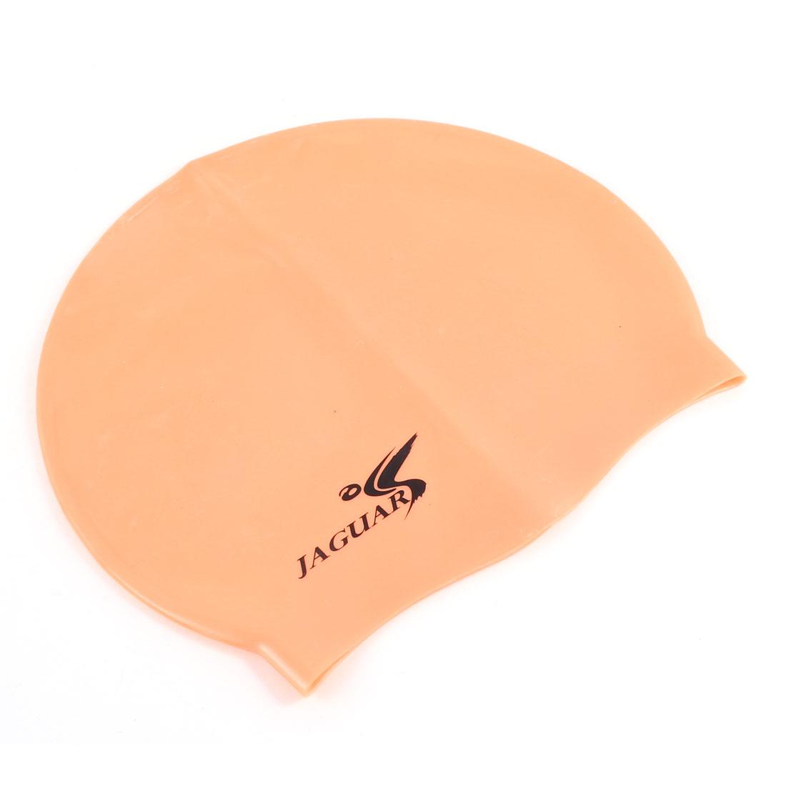 Unisex Orange Interior Nonslip Elastic Silicone Swimming Cap Hat
