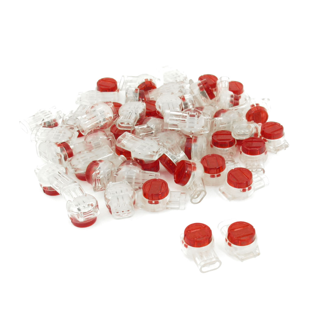 50 Pcs Red Clear 3 Ports UY Connector for 0.4mm-0.9mm Wire Conductors