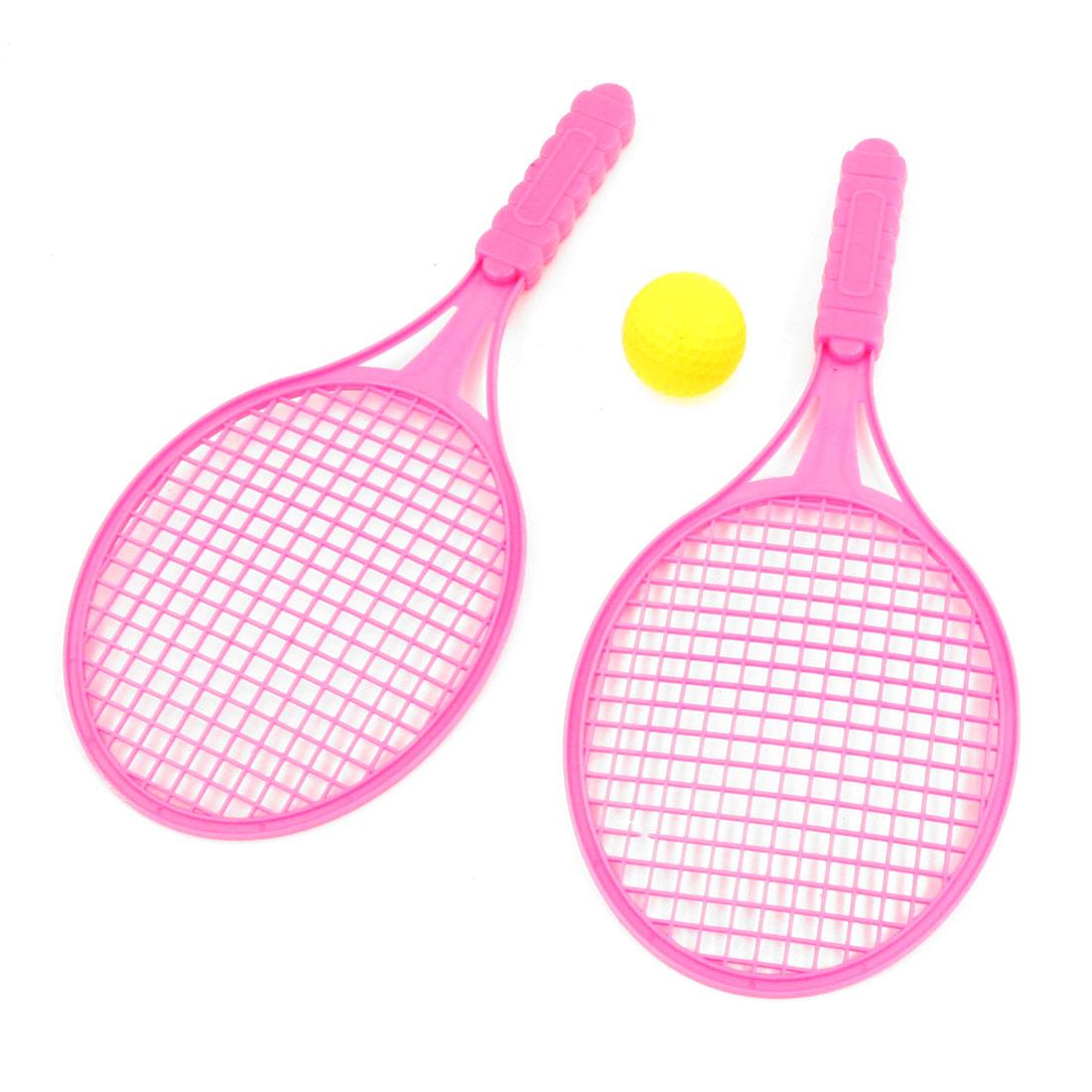 3 in 1 Fuchsia Nonslip Handle Tennis Racket Ball Sport Set for Child