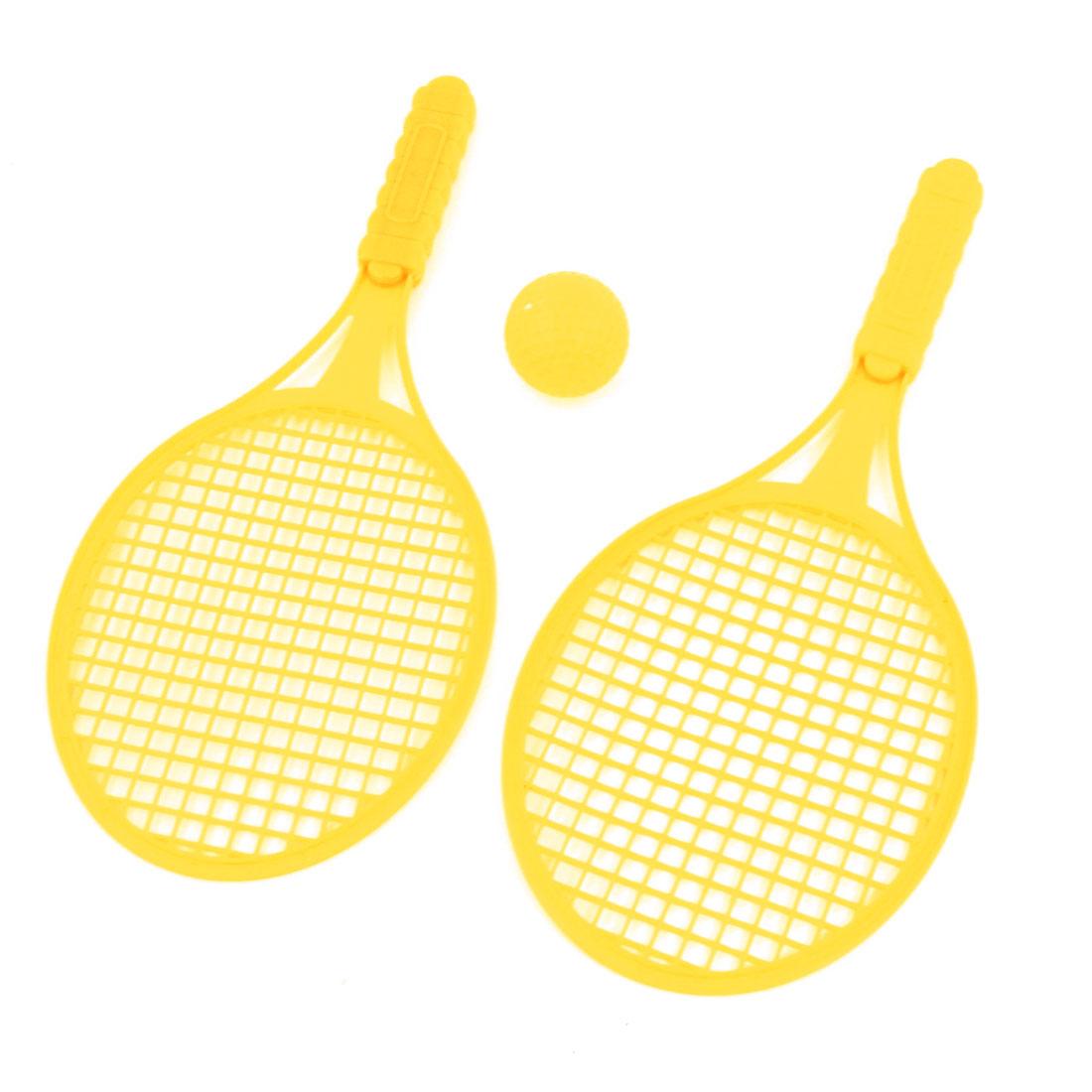 3 in 1 Yellow Nonslip Handle Tennis Racket Ball Sport Set for Kids