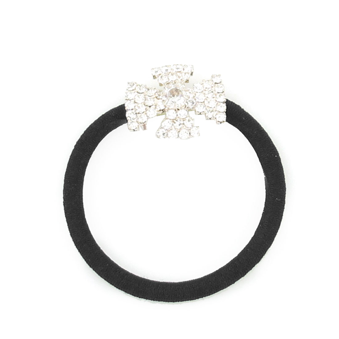Black Rhinestone Inlaid Cross Decor Stretchy Band Ponytail Holder