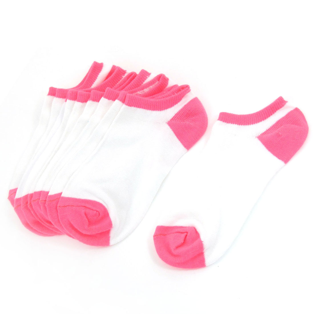 5 Pairs White Pink Elastic Cuff Low Cut Ankle Socks Hosiery for Girls