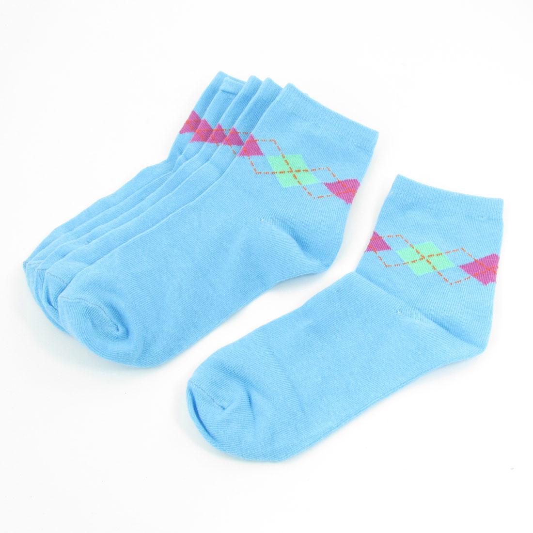 3 Pairs Blue Elastic Cuff Rhombus Prints Socks Hosiery for Woman