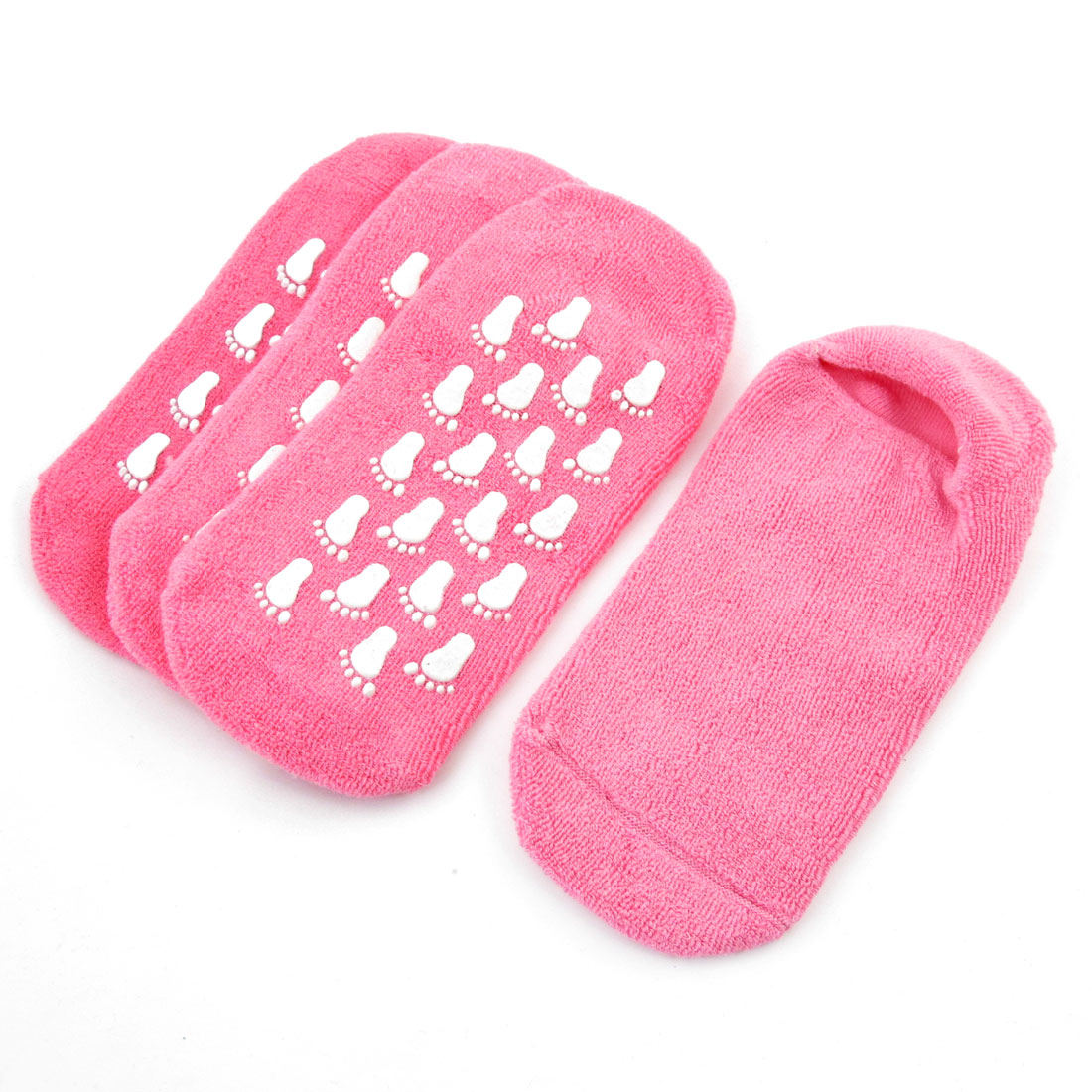 Ladies Pink Footprint Pattern Nonslip Sole Elastic Ankle Floor Socks 2 Pairs