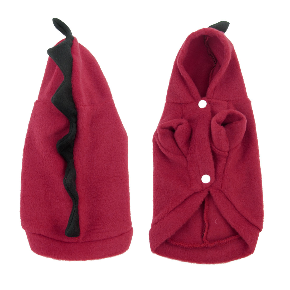 Red Black Dinosaur Design Single Breasted Pet Dog Dress Coat Costume M