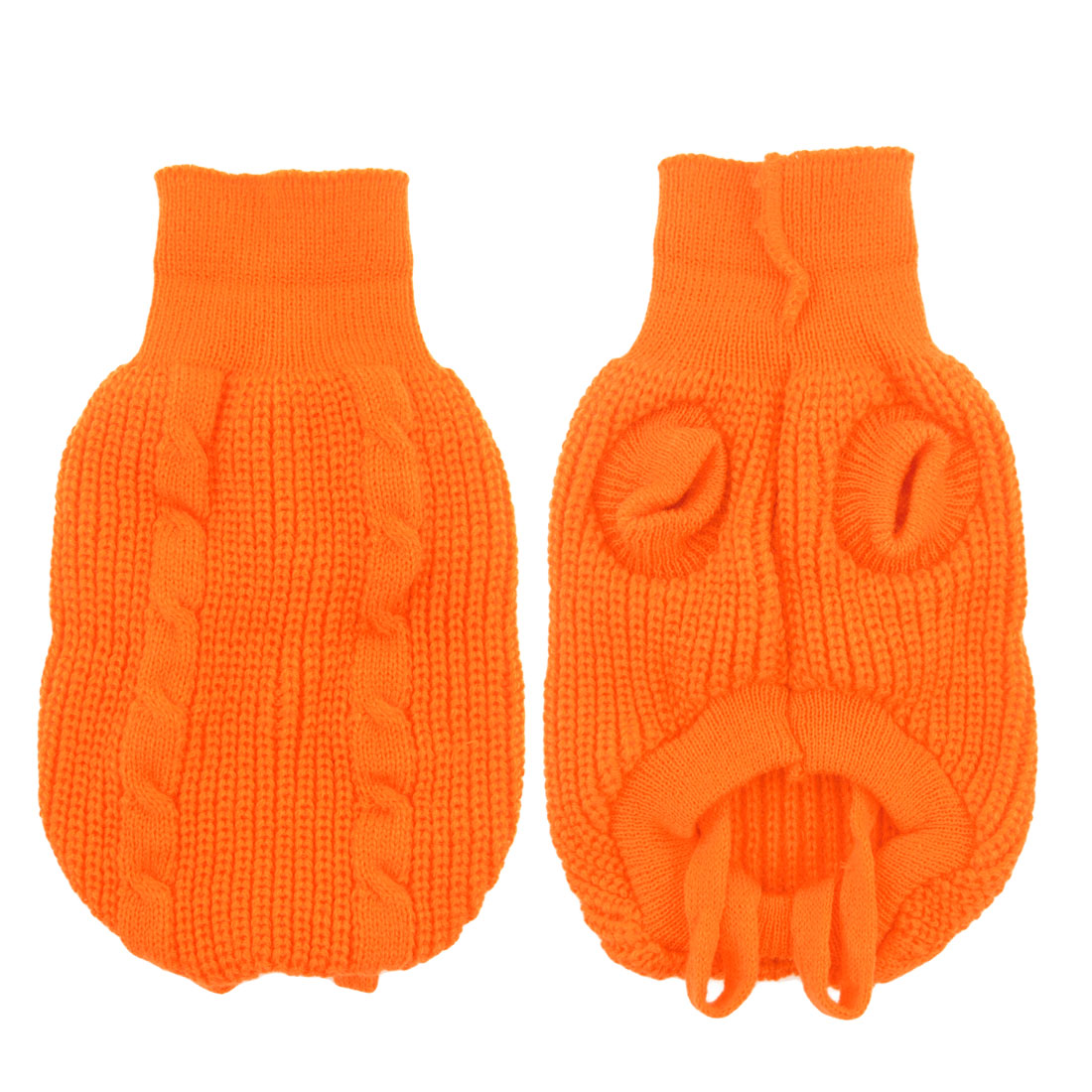 Pet Dog Turtleneck Knitted Cardigan Sweater Costume Orange Size M