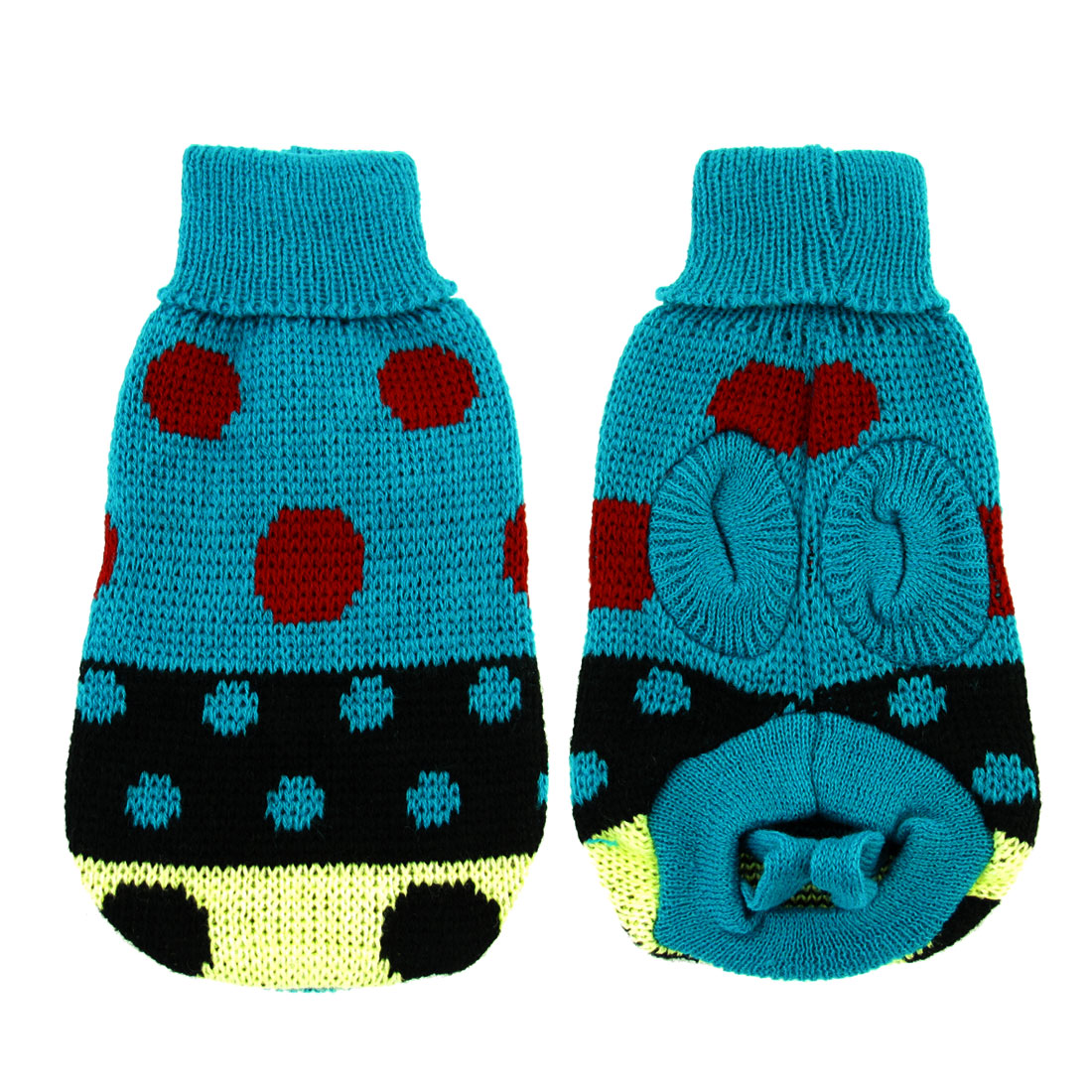 Pet Dog Cat Winter Warm Turtleneck Knitted Coat Apparel Sweater Clothes Teal Size 6
