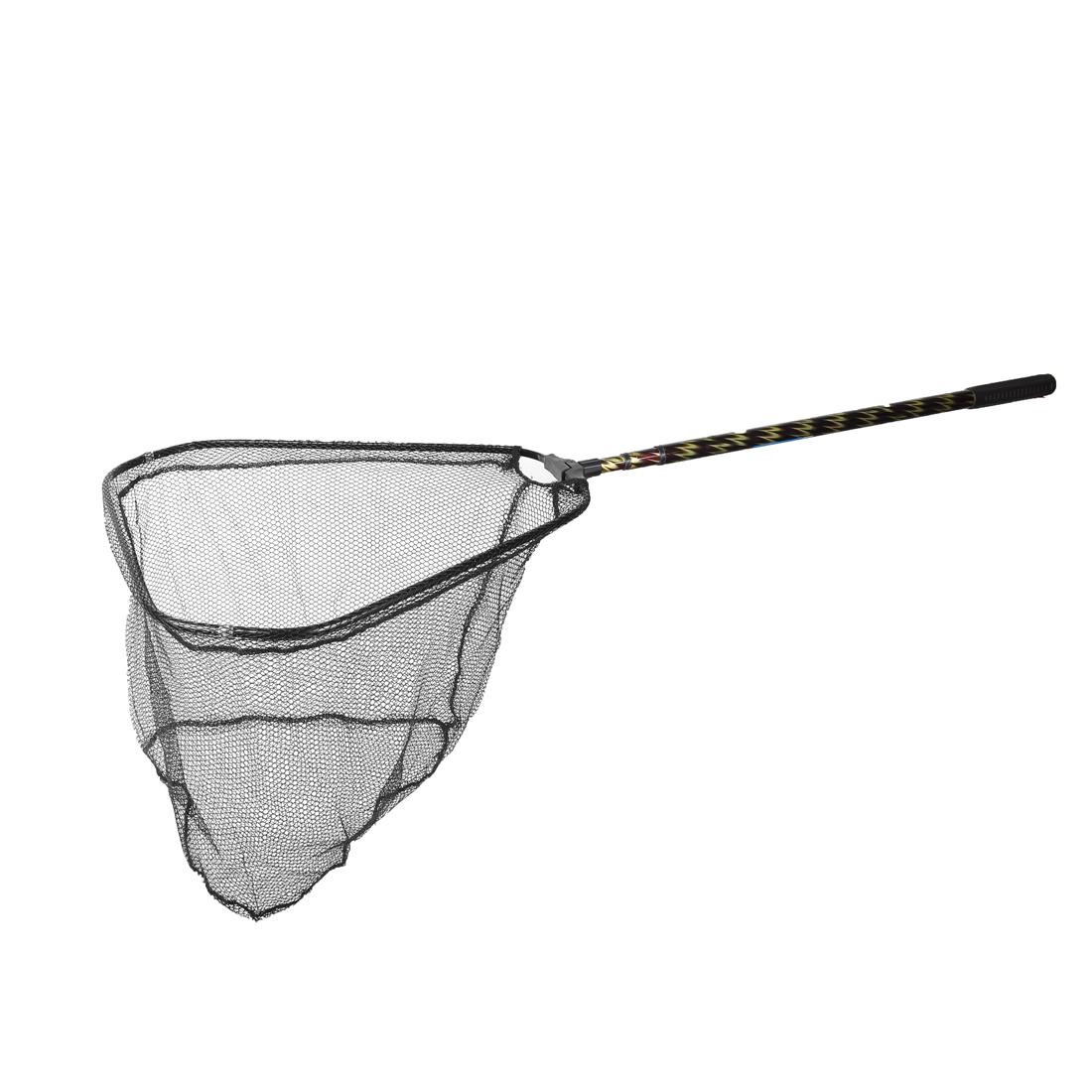 4.6Ft Telescopic Plastic Handle Army Green Mesh Triangle Fishing Landing Net