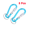 Outdoor Teal Blue Keyring Spring Loaded Gate Carabiner Hook 5 Pcs