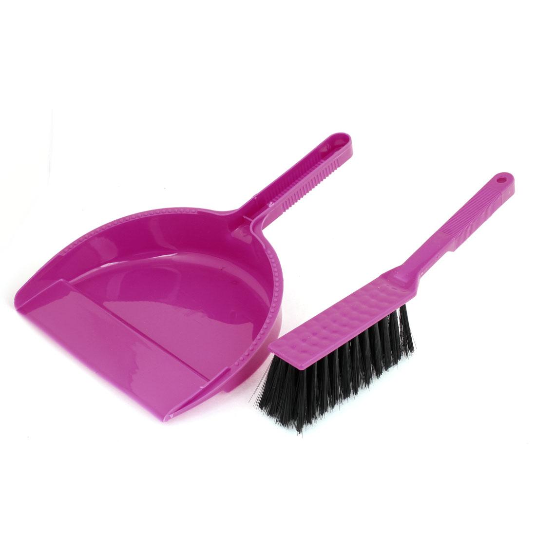 Home Computer Fuchsia Black Mini Brush Dustpan Cleaning Tool Set