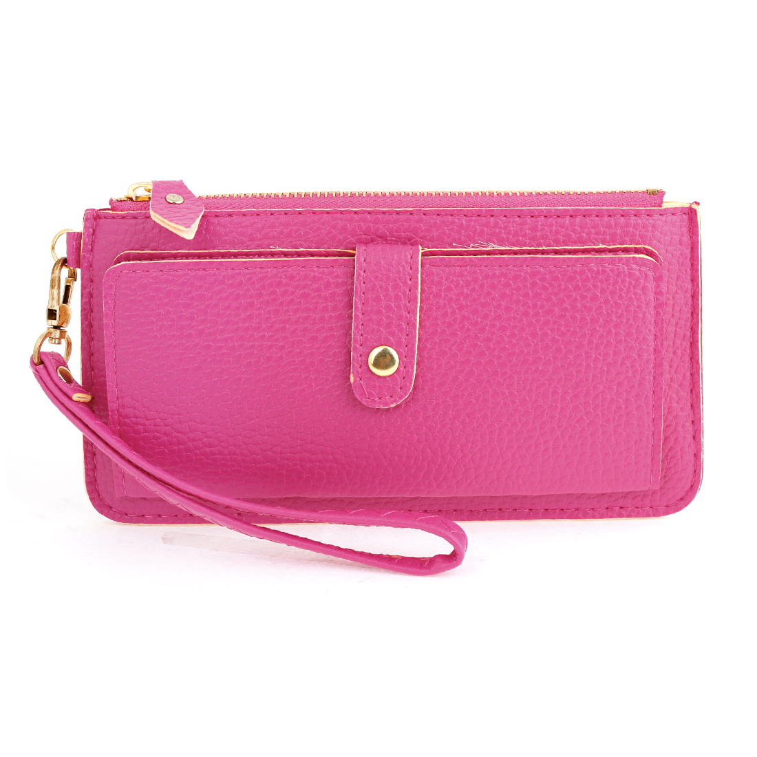 Women Hand Strap Faux Leather Bag Business Card Holder Purse Fuchsia