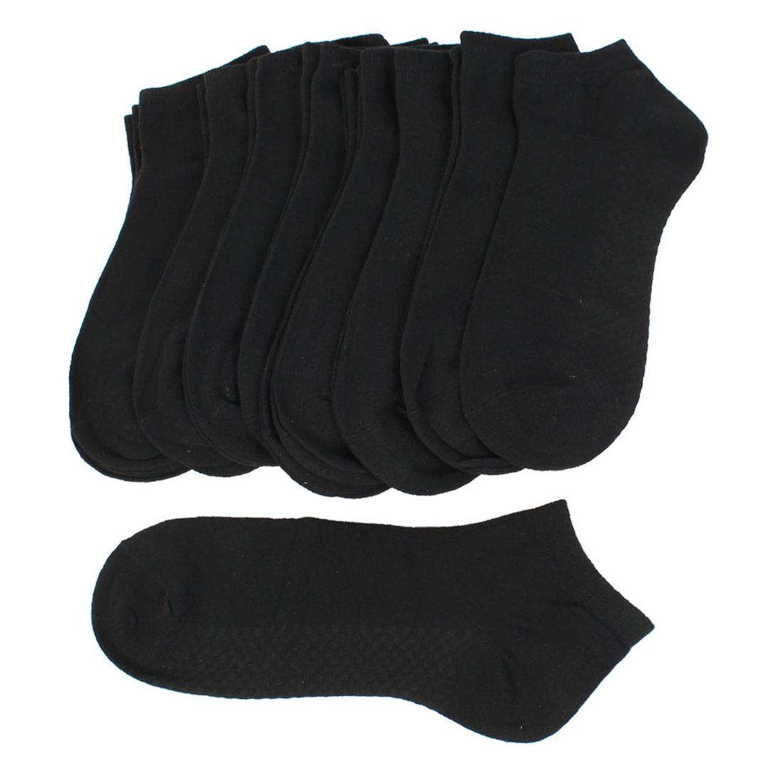 Men Black Stretchy Short Low Cut Running Socks 10 Pairs