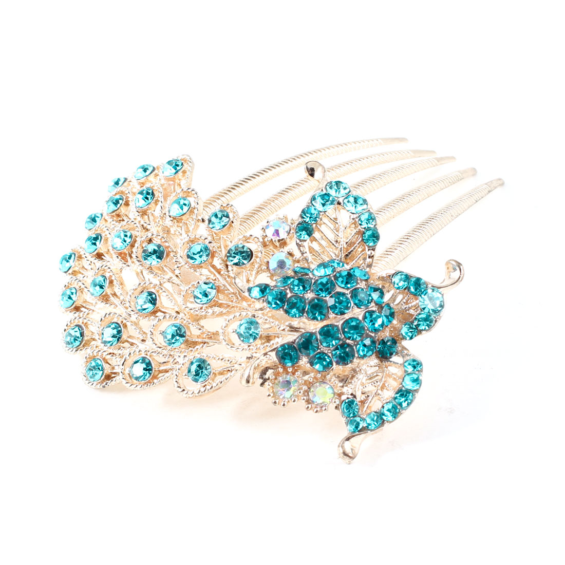 Blue Rhinestones Inlaid Gold Tone Plastic Hair Comb Clip for Lady