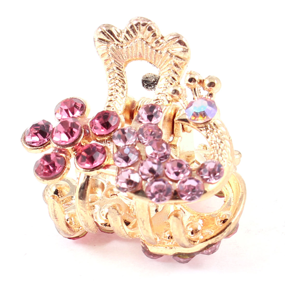 Lady Peacock Design Rhinestones Ornament Gold Tone Hair Claw Clip