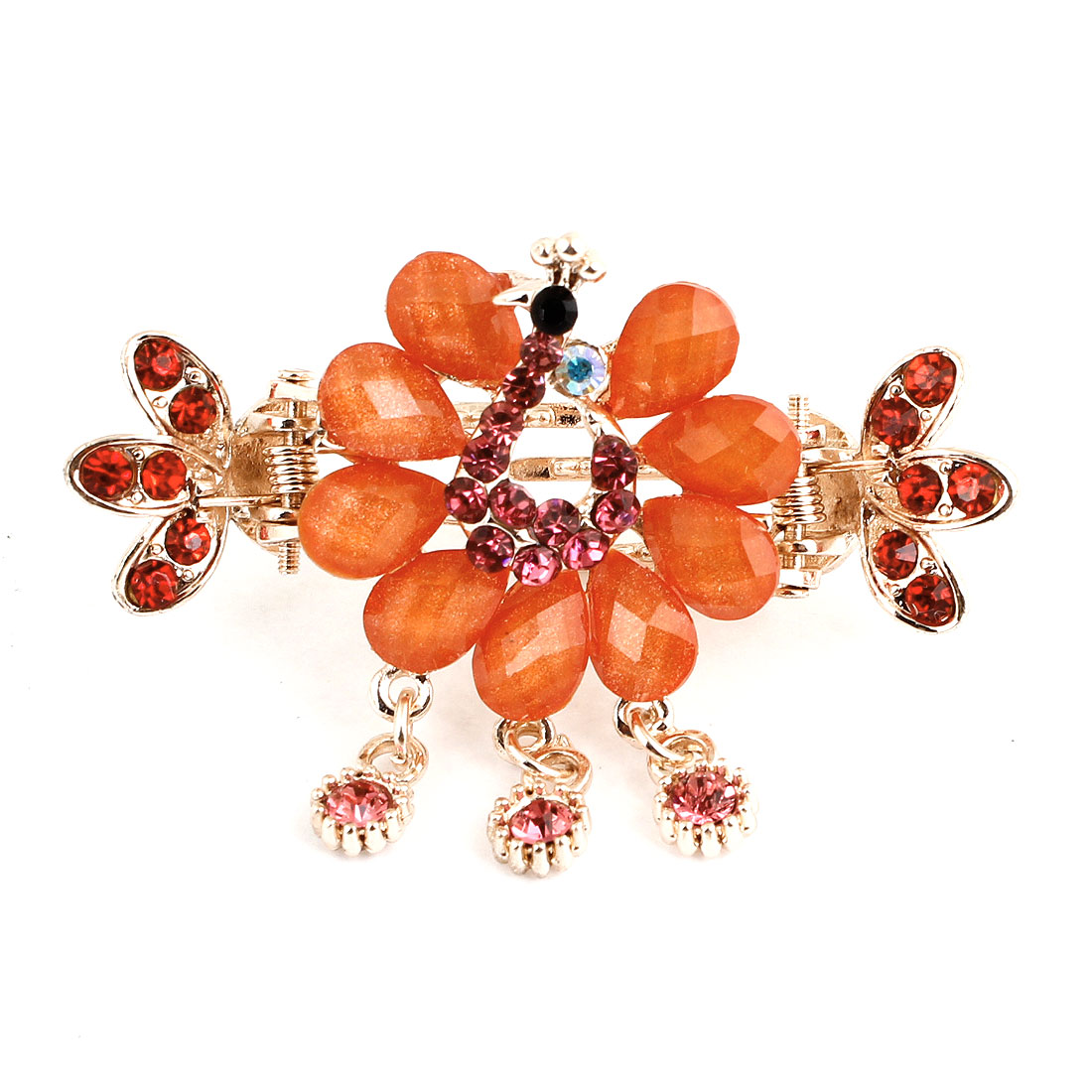 Red Fuax Rhinestone Inlaid Peacock Shape Hairpin Hair Claw Clip for Lady