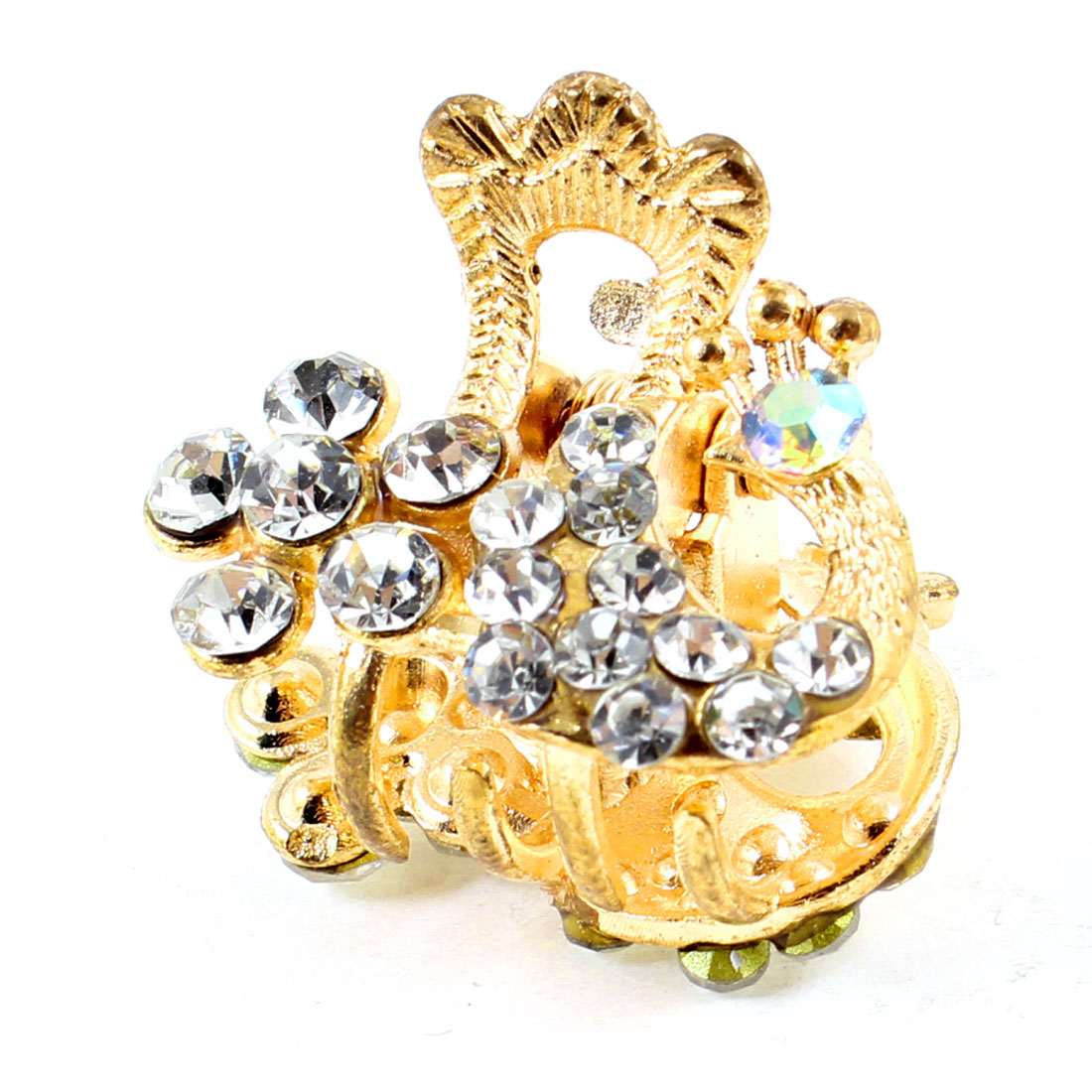 Lady Peacock Design Rhinestones Decor Hair Claw Clip Gold Tone