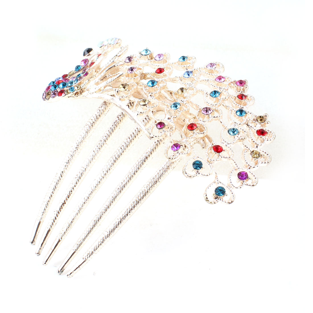 Lady Colorful Rhinestones Ornament Peacock Design Beige Hair Comb Clip