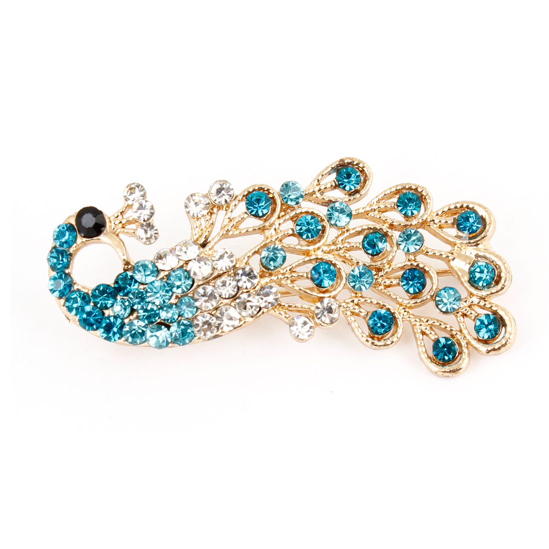 Lady Banquet Teal Blue Rhinestone Peacock Design Safety Pin Brooch