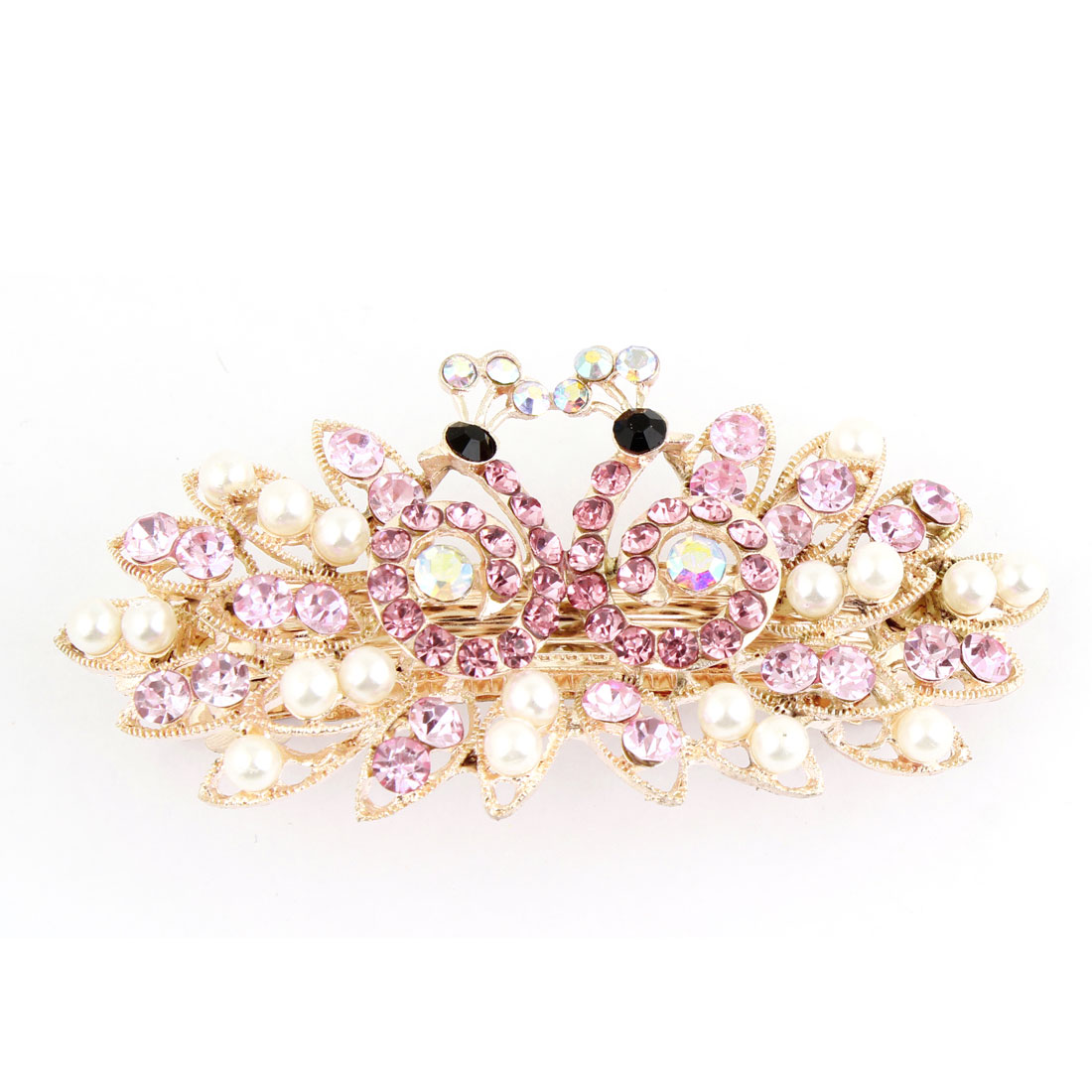 Light Pink Rhinestone Accent Peacock Design French Hair Clip for Lady