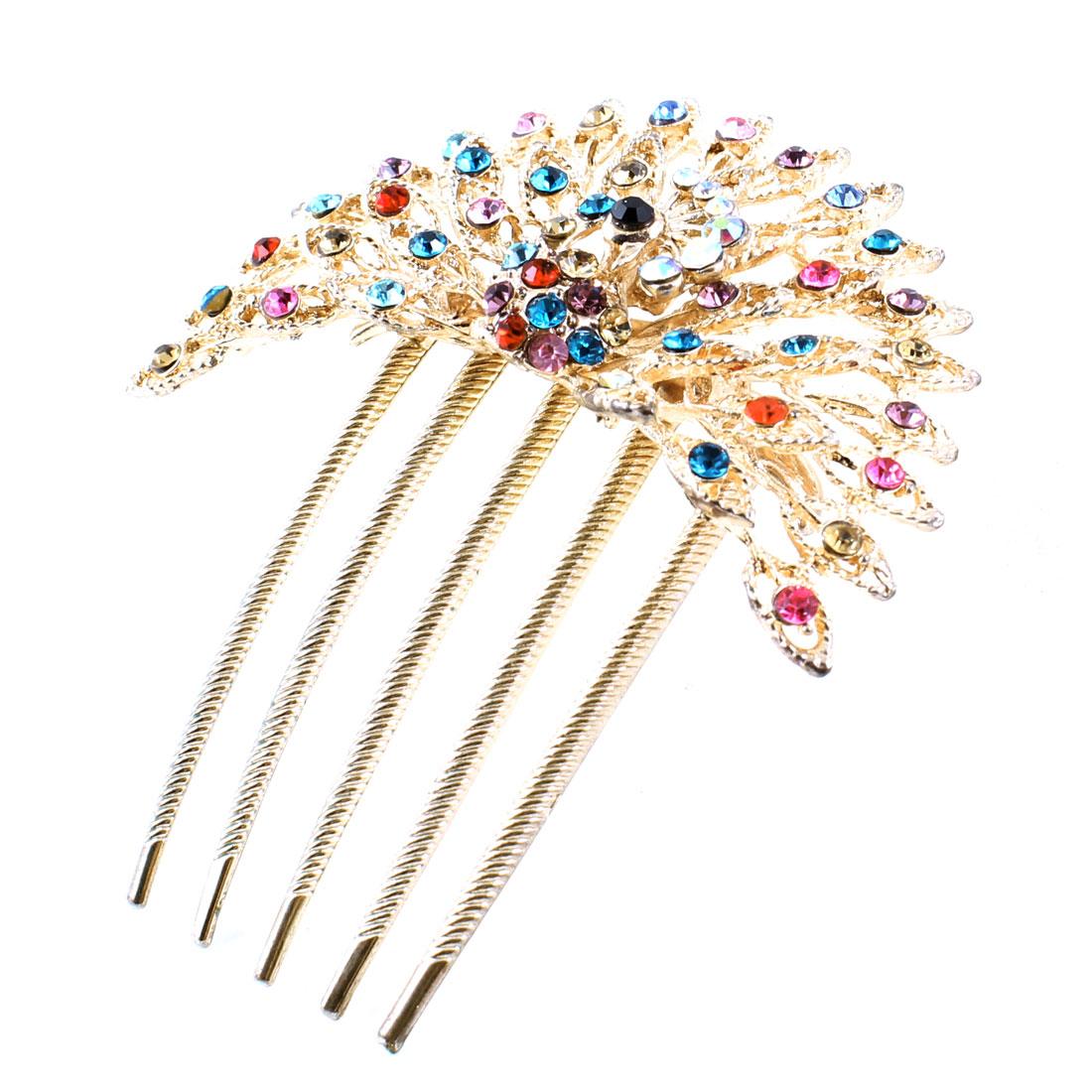 Lady Peacock Design Rhinestones Ornament Hair Comb Clip Gold Tone