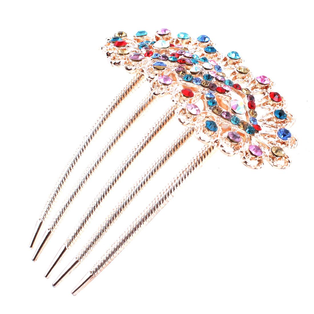 Shiny Gold Tone Metal 5 Teeth Design Hair Comb Clip Decor for Women