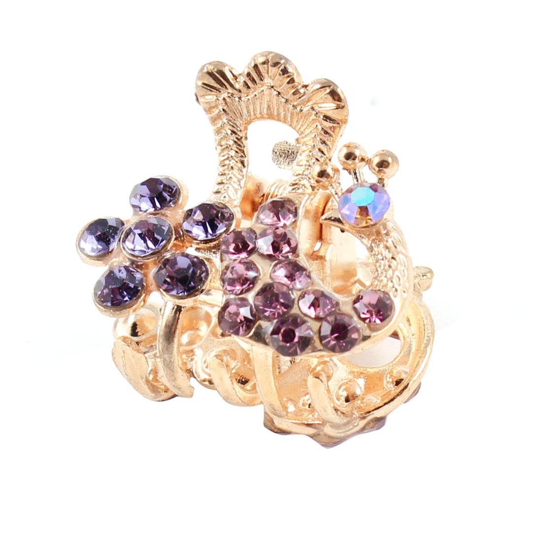 Glittery Rhinestones Inlaid Purple Flower Shape Hair Claw Clip