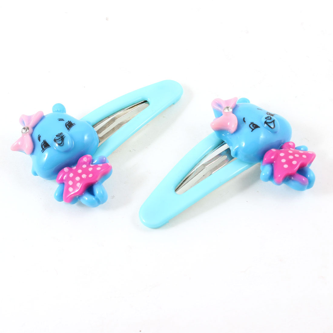 Kids Plastic Mini Pig Detail Hair Clip Hairpins Baby Blue Pair