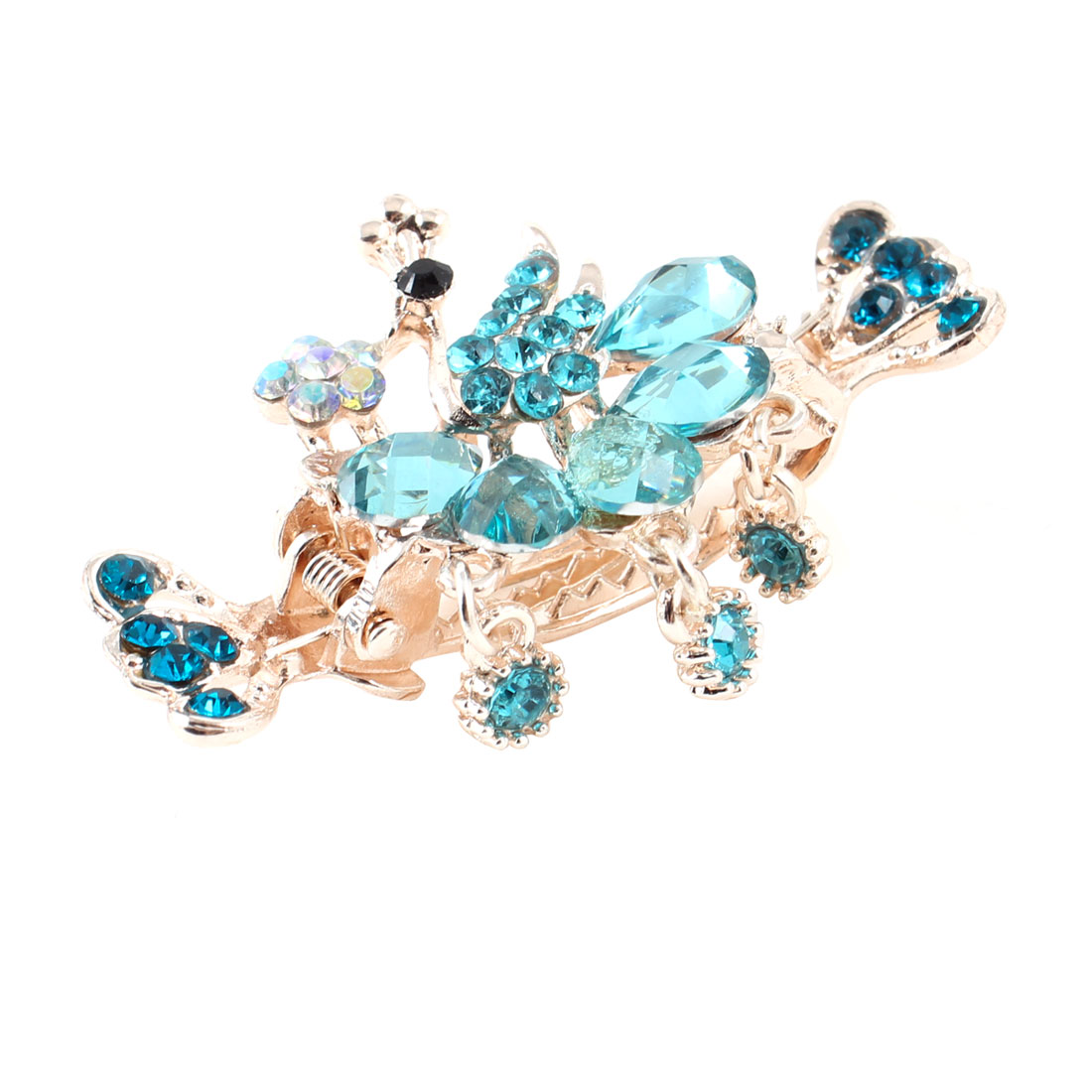 Lady Bling Rhinestones Inlaid Peacock Design Hair Claw Clip