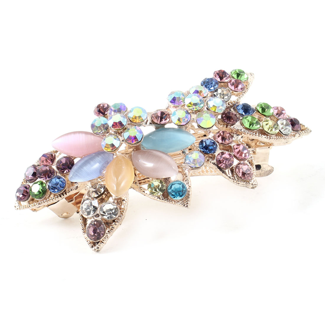 Lady Colorful Rhinestones Accent Metal Hair Clip Barrette