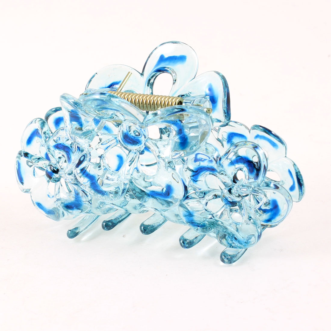 Lady 5 Claws Designed Clear Blue Hair Clamp Barrette