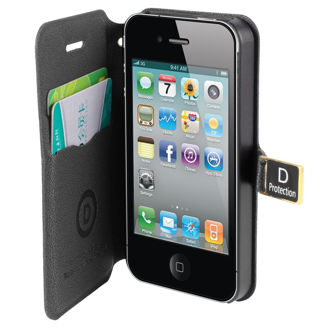 Black Faux Leather Magnetic Flap Case Cover Pouch for iPhone 4 4S