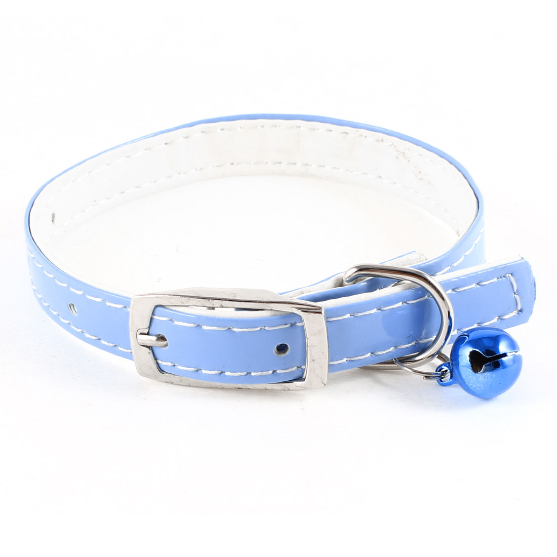 12mm Wide Jingle Bell Rhinestone Decor Adjustable Puppy Collar Blue