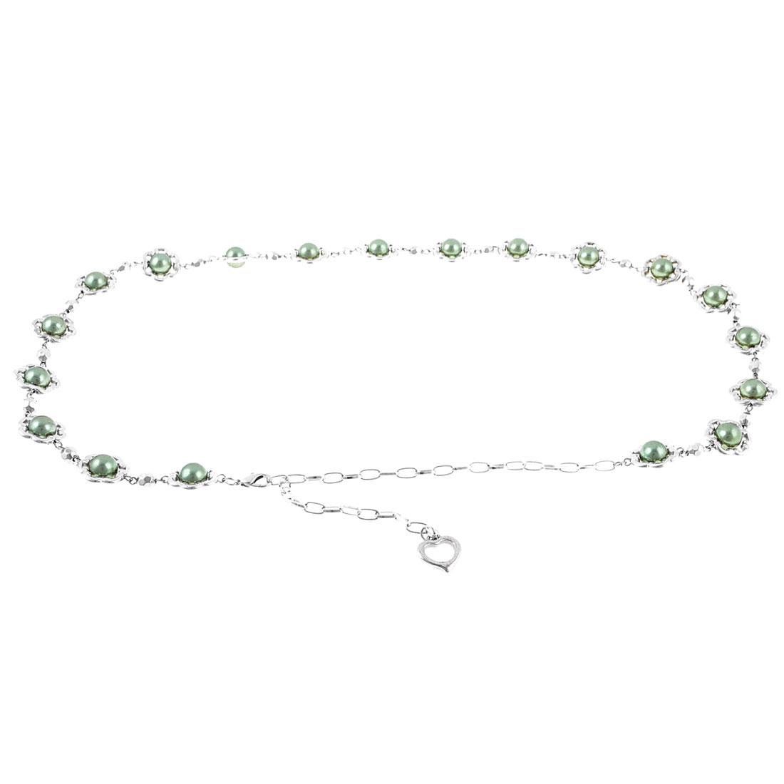Lobster Closure Metallic Heart Dangle Waist Belt Chain Green for Woman