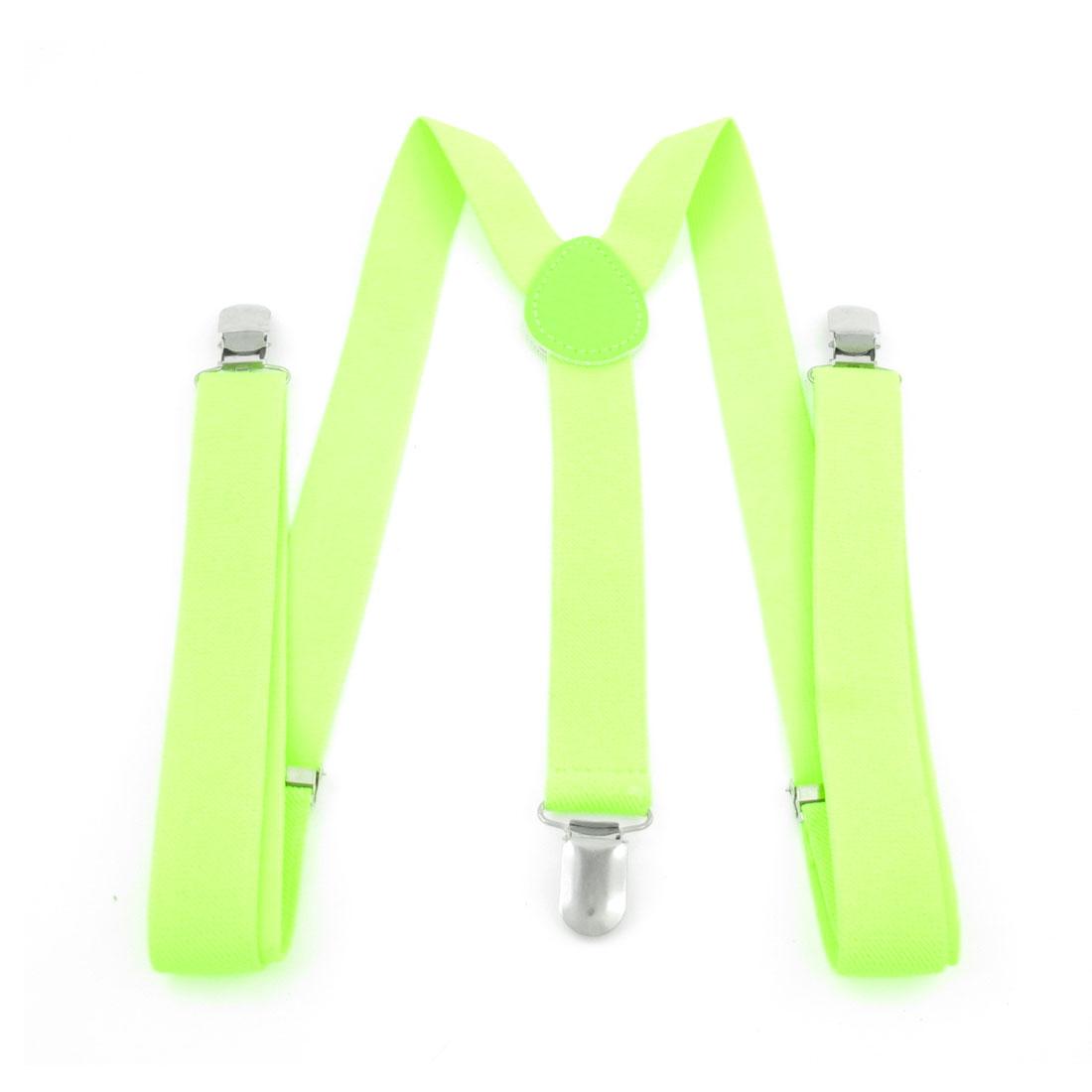 Women Adjustable Metal Clip Elastic Suspenders Braces Yellow Green