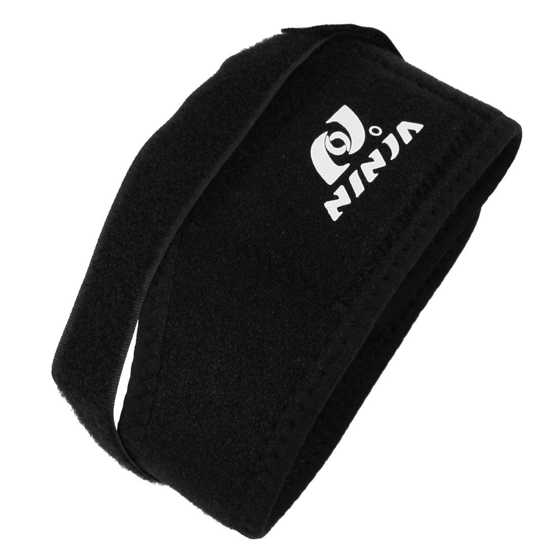 Gym Hoop Loop Fastener Black Adjustable Knee Support Protector Band