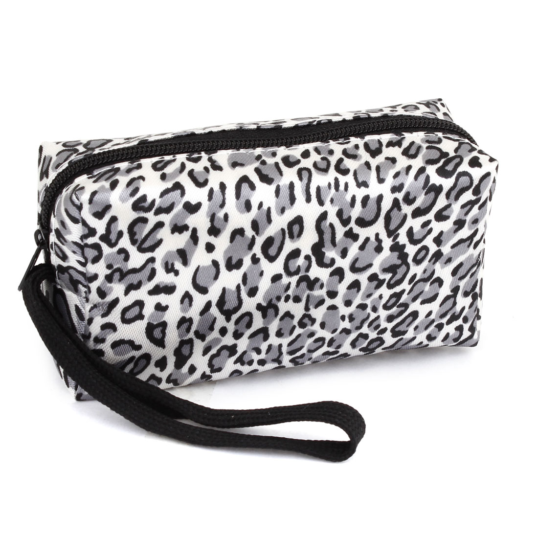 Lady Gray White Black Polyester Zipper Leopard Pattern Coin Purses Wallet Bag